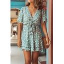Trendy Cute Light Blue Short Sleeve Deep V-Neck Bow Tie Waist Polka Dot Print Ruffled Trim Short Pleated A-Line Dress For Girls
