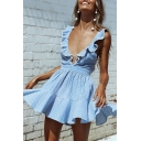 Cute Gorgeous Ladies' Sleeveless Deep V-Neck Ruffled Trim Stripe Print Bow-Tie Hollow Back Pleated Mini A-Line Dress in Light Blue