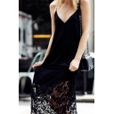 Casual Sexy Ladies' Sleeveless Deep V-Neck Lace Trim Open Back Black Long Swing Cami Dress