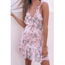 Pink Cute Girls' Sleeveless Deep V-Neck Floral Print Ruffled Trim Tiered Short A-Line Cami Dress for Beach