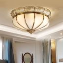Colonialism Bowl Ceiling Mount Light Fixture 5 Bulbs Milk Glass Flush Mount Chandelier in Brass for Bedroom