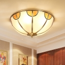 Opal Handblown Glass Brass Ceiling Flush Dome 3 Heads Colonialist Flush Mount Lamp for Bedroom