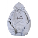 Womens Simple Heartbeats Pattern Long Sleeve Pouch Pocket Loose Drawstring Hoodie