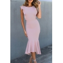 Women's Esteemed Plain Sleeveless Round Neck Ruffled Trim Hollow Back Long Bodycon Fishtail Dress for Celebrity