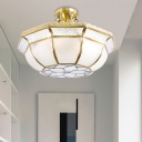 Ivory Glass Bowl Ceiling Lighting Colonial 4 Heads Bedroom Semi Flush Mount Light Fixture in Brass