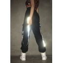 Black Street High Rise Patch Side Pockets Ribbon Reflective Cuffed Long Baggy Cargo Pants for Women