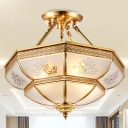 Colonial Dome Ceiling Mount Light Fixture 4 Bulbs Cream Glass Semi Flush Chandelier in Brass for Living Room