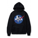 Unique Astronaut NASA Logo Printed Long Sleeve Kangaroo Pocket Boxy Pullover Hoodie
