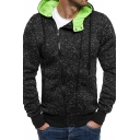 Mens Exclusive Oblique Zip Long Sleeve Slim Fit Hooded Sweatshirt Active Hoodie