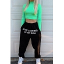 Hip Hop Plain Drawstring Waist Letter Print Cuffed Baggy Long Tapered Sweatpants for Cool Girls