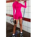Edgy Girls' Plain Glove Sleeve Mock Neck Zipper Front Buckle Belt Skinny Shorts Rompers