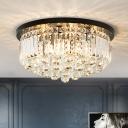 Cylinder Bedroom Flush Mount Crystal 4 Lights Modern Style Flush Ceiling Light in Black