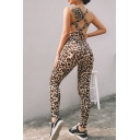 Unique Sexy Ladies' Sleeveless Leopard Printed Hollow Out Back Ankle Skinny Tank Jumpsuit in Brown