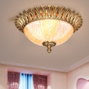 Carved Crystal Dome Flush Mounted Light Modern 3 Heads Ceiling Light Fixture in Brass