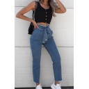 Trendy Street Women's High Rise Bow-Tie Waist Frayed Trim Plain Ankle Length Slim Fit Jeans