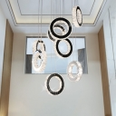 Crystal Black Cluster Pendant Ring LED Contemporary Hanging Ceiling Light for Living Room