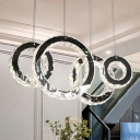 Round Cluster Pendant Light Modern Crystal LED Black Hanging Light Kit for Living Room