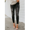 Plain Street Women's Mid Rise Distressed Patched Ankle Length Skinny Jeans
