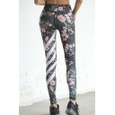 Women's Stretchy Black Mid Rise Floral Stripe Printed Slim Fit Ankle Length Length in Black