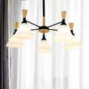 Cone Chandelier Light Fixture Modernist Style White Glass 5 Lights Bedroom Hanging Ceiling Light