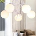 Ball Ivory Glass Chandelier Lamp Modernist Style 5 Lights Black/White Hanging Ceiling Light for Living Room