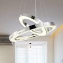 Orbit Chandelier Light Postmodern Metal Chrome LED Hanging Lamp Kit in Warm/White/Neutral Light, 16
