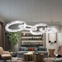 Circle Ceiling Chandelier Modern Crystal LED Chrome Hanging Pendant Light in White/Warm Light for Living Room