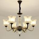 Modern Flower Shaped Chandelier Lighting Fixture Crystal 6/8/10 Lights Living Room Suspension Pendant in Black