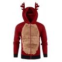 Lovely Deer Horn Hood Color Block Plush Panel Long Sleeve Zip Up Slim Fit Unique Hoodie
