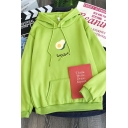Womens Leisure Avocado Letter Pattern Long Sleeve Pouch Pocket Thick Oversized Hoodie