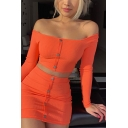 Womens Sexy Plain Off Shoulder Long Sleeve Button Down Cropped Top with Mini Tight Skirt