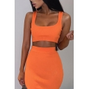 Womens Popular Solid Color Cropped Tank Top with Mini Skirt Two Pieces Sexy Co-ords