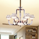Crystal Conical Chandelier Light Contemporary 6 Lights Hanging Light Fixture in Chrome