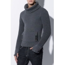 Mens Casual Plain Turtleneck Long Sleeve One Pocket High Low Hem Fitted Sweater Knitwear