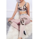 Pink Stylish Letter Tape Trim Camo Print Tank Top with Mesh Patch Sweatpants Two Piece Co-ords