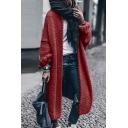 Trendy Street Women's Long Sleeve Chunky Knit Oversize Maxi Plain Cardigan Sweater