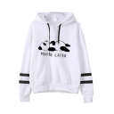 Women's Casual Long Sleeve Drawstring MAYBE LATER Letter Panda Print Relaxed Varsity Striped Hoodie