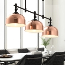 Copper Dome Shade Island Lamp Vintage Stylish 3 Lights Metallic Island Pendant Lighting for Dining Room