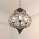 Black Gourd Shape Chandelier Pendant Traditional Iron 5-Light Ceiling Light Fixture