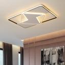 Acrylic Rectangular Ceiling Lamp Modern Black-White LED Flush Mount in Warm/White Light