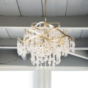 Crystal Cascade Hanging Chandelier Modern 4 Heads Brass Suspension Pendant Light with Adjustable Metal Chain