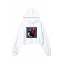 RESTORING ANCIENT WAYS Letter Cartoon Girl Print Long Sleeve Cropped Hoodie in White