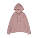 Simple Letter ES UN ARMA Print Long Sleeve Zip Up Pink Loose Drawstring Hoodie