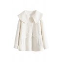 Cute Plain Long Sleeve Exaggerated Collar Button Down Flap Pockets Loose Fit Wool Coat for Female