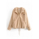 Plain Casual Long Sleeve Hooded Zipper Front Drawstring Letter PRIX Patched Sherpa Fleece Loose Coat for Women