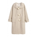 Cute Warm Girls' Long Sleeve Lapel Neck Button Down Pompom Decoration Patched Pockets Shearling Fleece Long Coat in Apricot