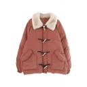 Stylish Cute Girls' Long Sleeve Lapel Neck Flap Pockets Sherpa Patched Oversize Duffle Coat in Orange