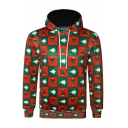 Mens Fashion Colorblock Christmas Tree Checked 3D Pattern Long Sleeve Relaxed Hoodie