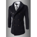 Mens Popular Black Long Sleeve Double Breasted Longline Wool Coat Fitted Peacoat