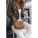 Charm Dressy Women's Long Sleeve Notch Lapel Collar Leopard Print Double Breasted Slim Blazer in Black